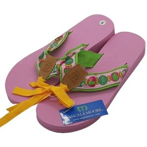 Angela Moore pink and green classic flip flops, 9